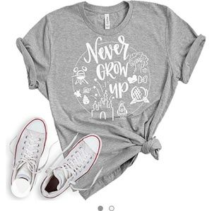 Never Grow Up Disney T-Shirt cotton Gray vacation